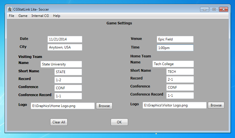 Easily configure the team names and venue data for your game.